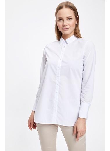 DeFacto Uzun Kollu Gömlek Tunik Beyaz